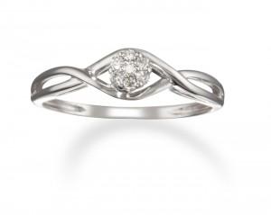 Image of 14k White Gold Diamond Promise Ring