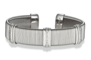 Image of Triple Row Diamond Bar Cuff Bracelet in Stainless Steel