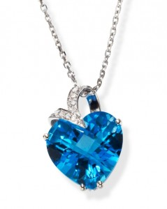 Image of Blue Topaz Heart Pendant and Necklace in 14K White Gold