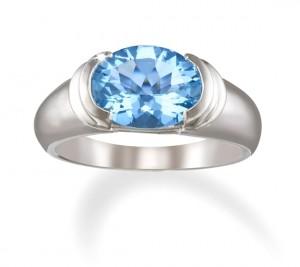 Image of 14k White Gold Half Bezel Set Blue Topaz Ring