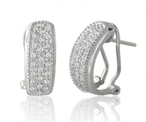 Image of 14k White Gold Pave Diamond Hoop Earrings with Clip Post Backs