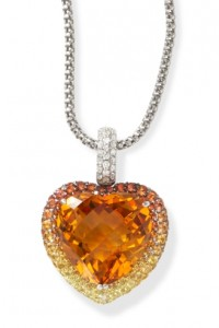 Citrine Heart Surrounded by Multi Sapphires and Diamonds