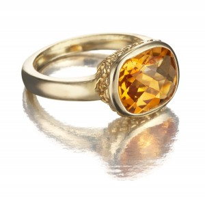 Image of Faceted Citrine Ring in 14k Gold