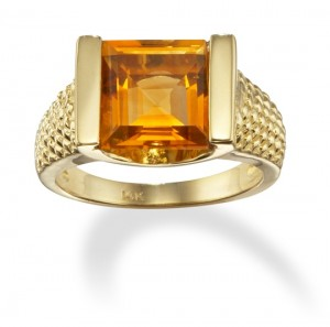 Image of Square Cut 14k Gold Citrine Ring