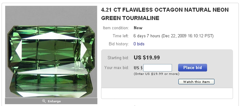 Image of advertised Green Tourmaline with flaws visible