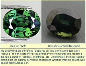 Image comparing advertised gemstone image and received gemstone