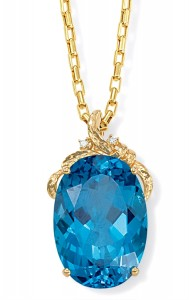 Image of large Blue Topaz Pendant 14k Gold with Diamonds