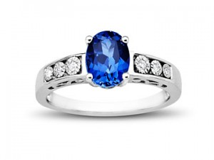 Image of Ceylon Sapphire Ring with Diamonds in Sterling Silver