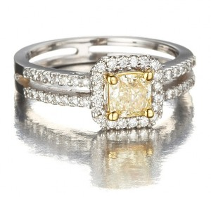 Image of Natural Fancy Yellow Diamond Princess Cut Engagement Ring in 18k Gold with White Diamonds