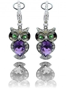 Multi Gemstone and Diamond Owl Earrings in 14k White Gold Image