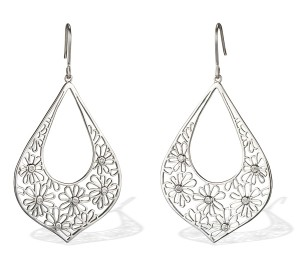 Image Of Artesian Style Cz Daisy Dangle Earrings In