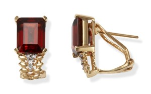 Image of Gold Garnet Earrings with Diamonds