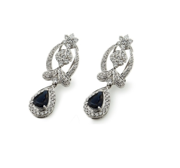 earrings, sapphire, white gold, platinum, silver, hanging, diamond, jewelry, gemstones